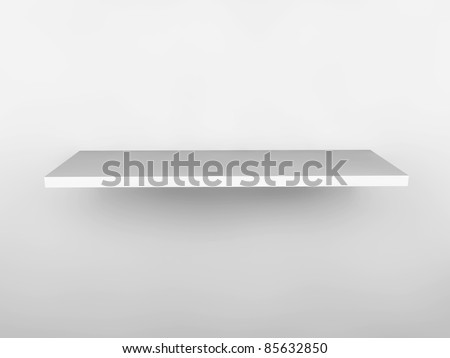 3d isolated empty shelves for exhibit.