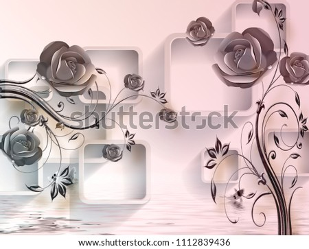 3D Isolated flowers with rectangular background.