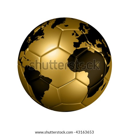 3D isolated gold soccer ball with world map, world football cup Brazil 2014