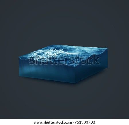 3d isolated illustration section storm sea with big waves on dark background