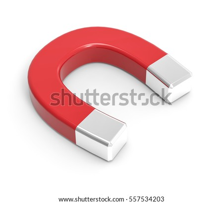 3d isolated red white magnet...