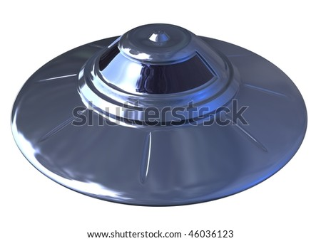 3d isolated retro style shiny ufo object on white background with clipping path