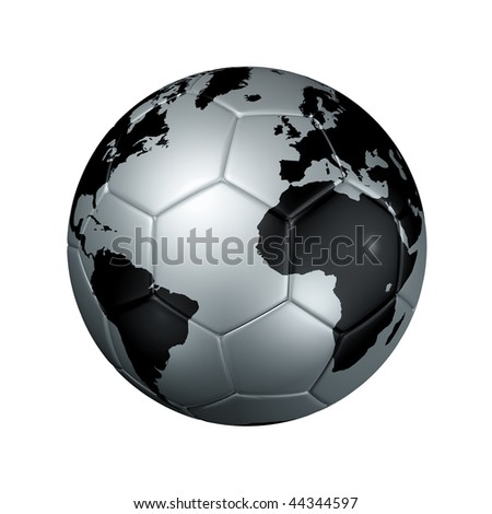 3D isolated silver soccer ball with world map, world football cup 2010