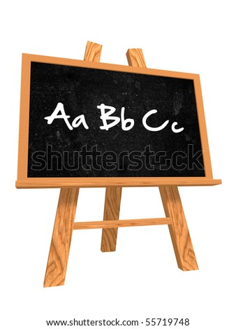 3d isolated wooden blackboard with text - abc