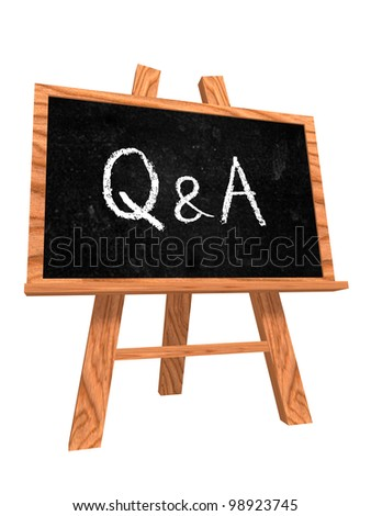 3d isolated wooden blackboard with text Q&A