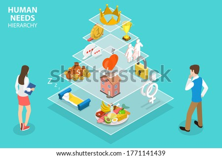 3D Isometric Concept of Maslow s Hierarchy of Needs, Human Motivation Having the Following Levels: Physiological, Safety, Belonging and Love, Social Needs or Esteem and Self-Actualization. Stock photo ©