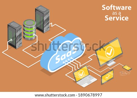 3D Isometric Flat Conceptual Illustration of Saas - Software as a Service, Cloud Computing Technologies.
