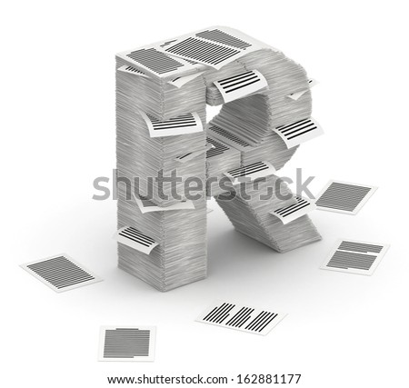 3D isometric letter R, made from stacks of paper pages font Stock fotó ©