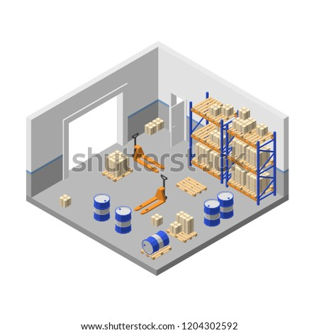 3d isometric storage, factory warehouse, logistic, delivery storehouse with shelves, boxes, forklifts, barrels, pallets for goods, cargo Store room structure