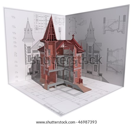 3D isometric view of the cut building on architect's drawing.