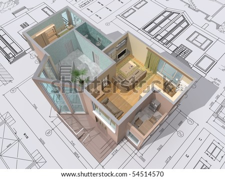 3d Isometric View Of The Cut Residential House On
