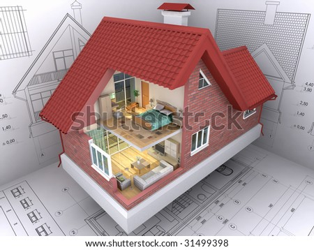 Architecture Home Design on 3d Isometric View The Residential House On Architect S Drawing