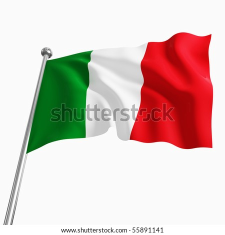 3d italian flag isolated on white background