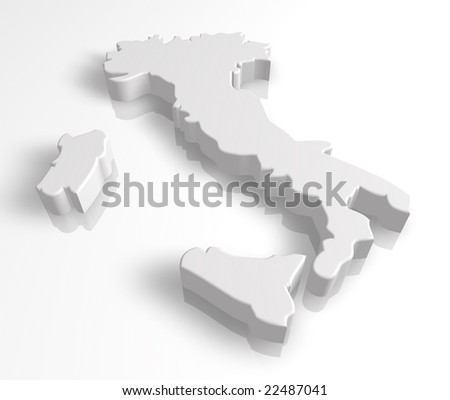 3d italy map - stock photo