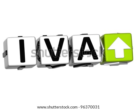 3D Iva button block cube text over white background