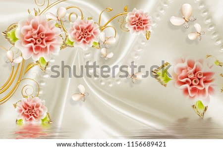3D Jade red flower background wallpaper for walls.