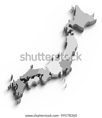 3d Japan grey map on white isolated