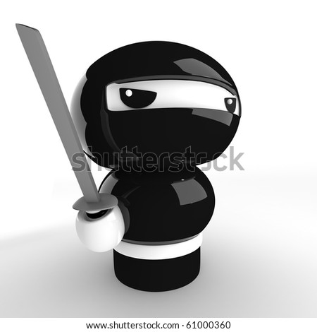 3D Japanese ninja with katana ready to attack