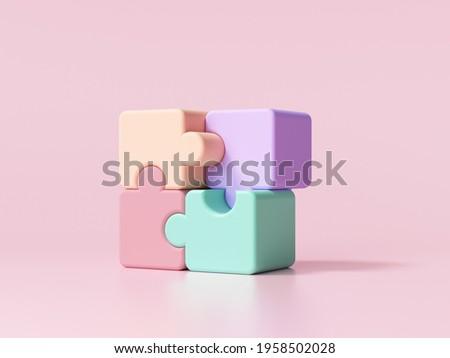 3D jigsaw puzzle pieces on pink background. Problem-solving, business concept. 3d render illustration