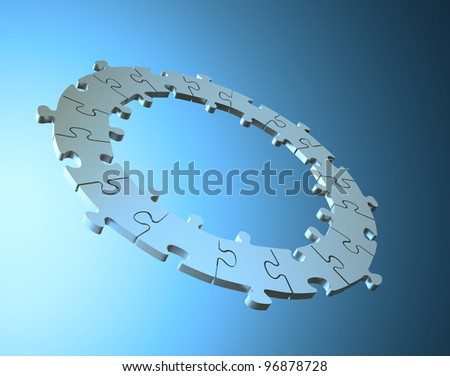 3D jigsaw puzzle ring background - stock photo