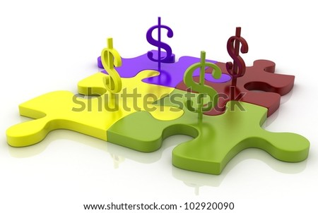 3D Jigsaw puzzle with dollar signs concept