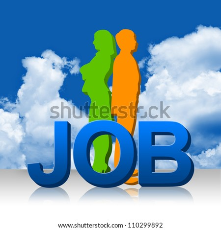 3d Job With Businessman and Business Woman as Candidate With Blue Sky Background