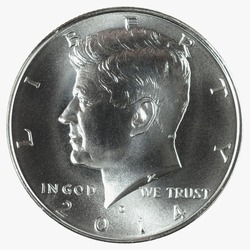 2014 D John F Kennedy 50 Cents, Half Dollar, High Relief Silver Coin.  Obverse (heads) side showing.