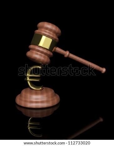 3d Judge's Gavel with euro design - stock photo