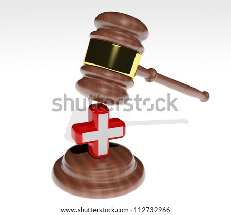 3d Judge's gavel with health cross