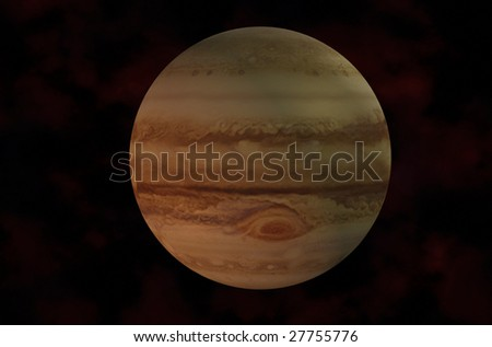 3d Jupiter Rendered On Galaxy Background