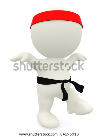 3D karate expert - isolated over a white background