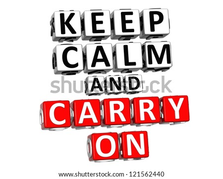 3D Keep Calm And Carry On Button Click Here Block Text over white background
