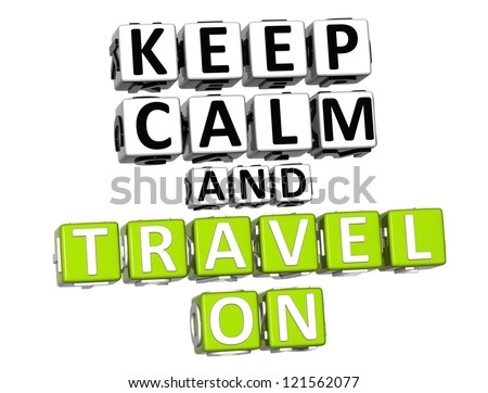 3D Keep Calm And Travel On Button Click Here Block Text over white background