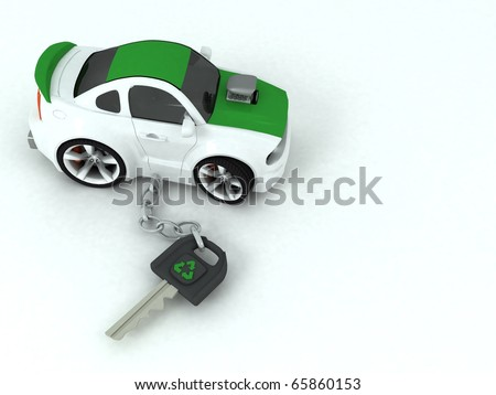 3d key chain green eco car
