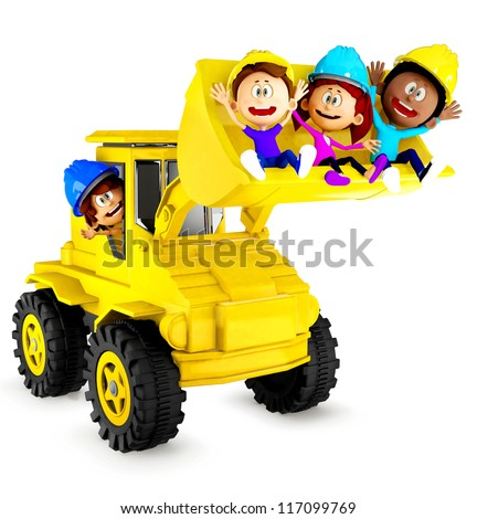 3D kids playing with a bulldozer and looking very happy