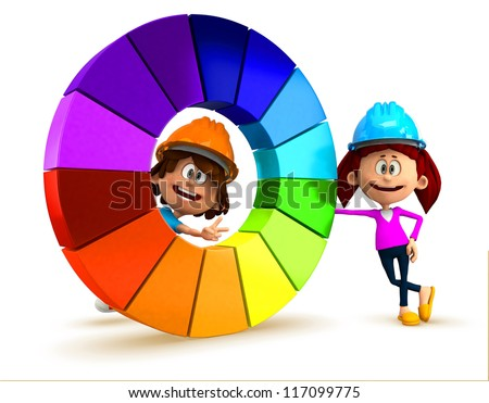 3D kids with a color chart having fun - isolated over white