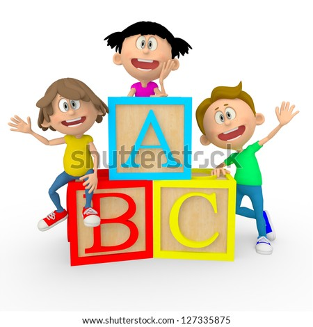 3D kids with ABC cubes looking happy - isolated over white