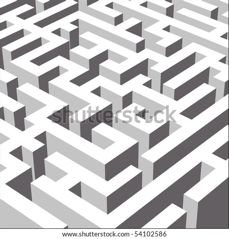 3D labyrinth symbolizing variety of ways, close view (Vector version available)
