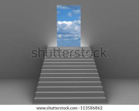 3d ladder going to sky for success - stock photo