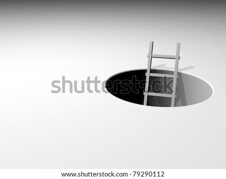 3d ladder leading from underground - 3d illustration