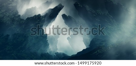 3D Landscape Illustration where you can see sharp rock formations in a dense atmosphere