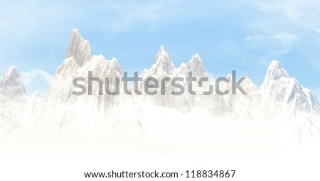 3D landscape of snow mountain
