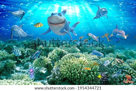 3D landscape seascape underwater world dolphin shark seaweed design in Chinese style for painting hanging painting wall, receptionist backdrop, or TV background decoration. 3D rendering
