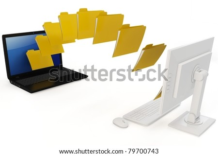 3d laptop and computer data transfer wireless isolated on white