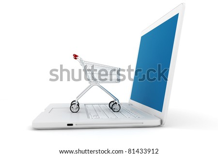 3d laptop and shoppping cart, online shopping concept