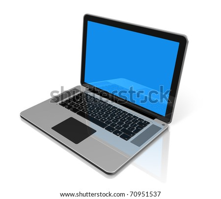 3D laptop computer isolated on white with clipping path
