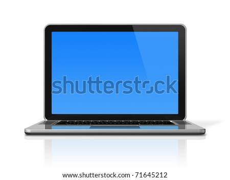 3D laptop computer isolated on white with 2 clipping path : one for global scene and one for the screen - stock photo