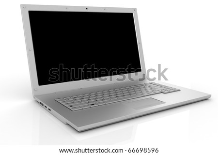 3d laptop isolated on white
