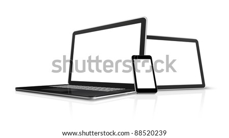 3D laptop, mobile phone and digital tablet pc computer - isolated on white with clipping path - stock photo