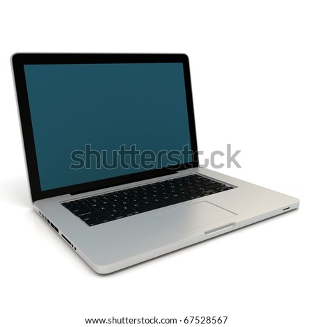3d laptop notebook isolated on white background - stock photo
